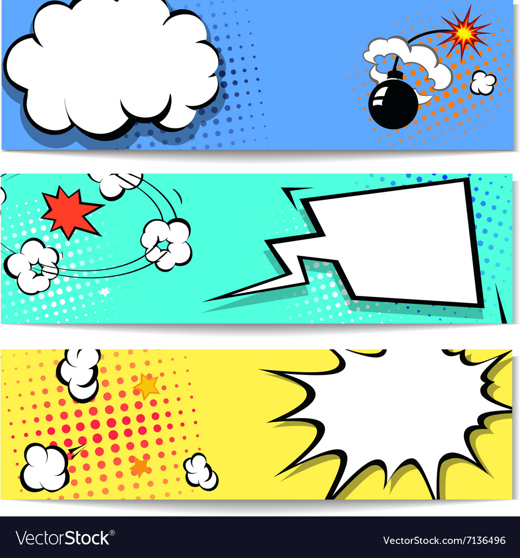 Comic speech bubble web header set with