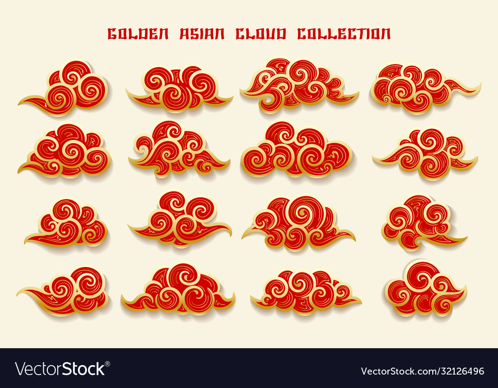 Golden asian clouds collection