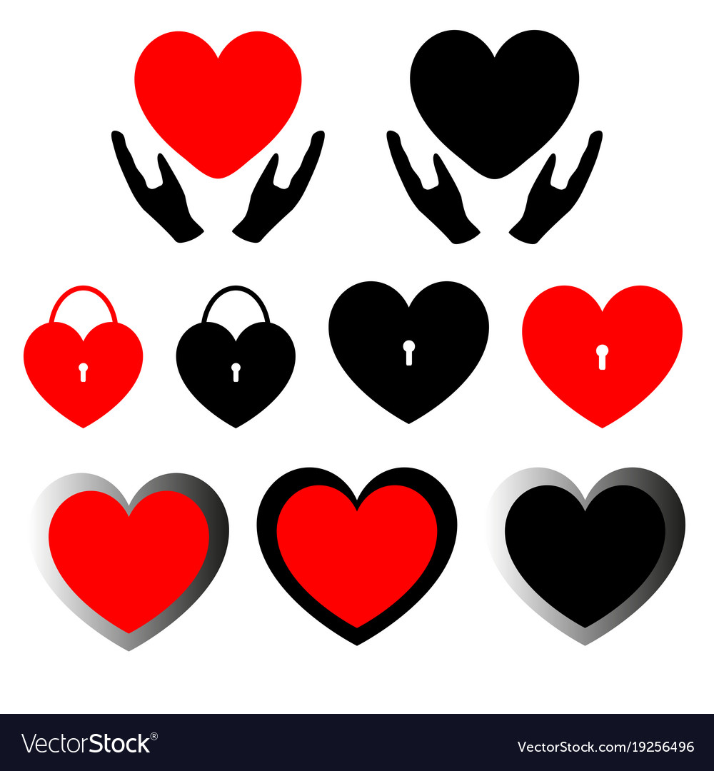 Heart set care lock and double path vector image