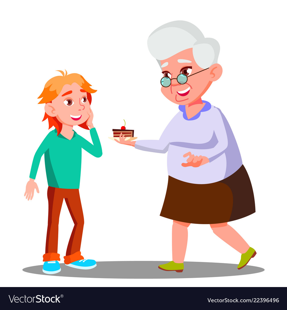 Old woman treating little child with cookies