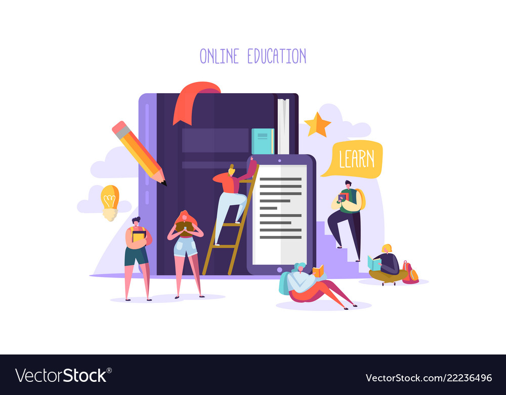 Online education concept e-learning with people