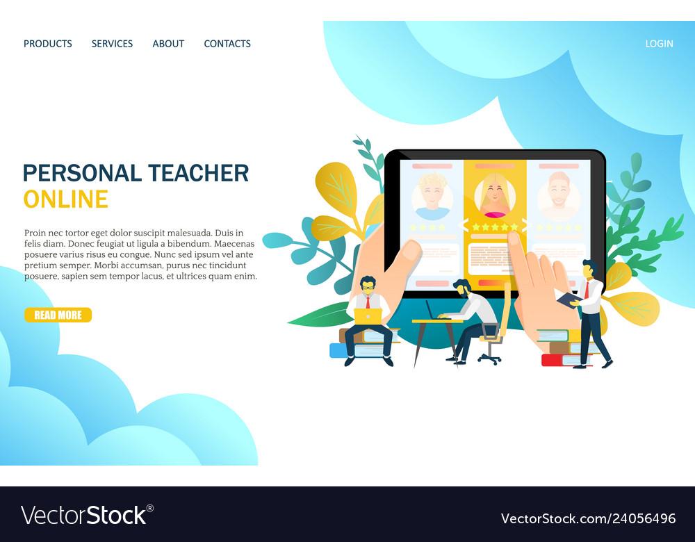 Online personal teacher website landing