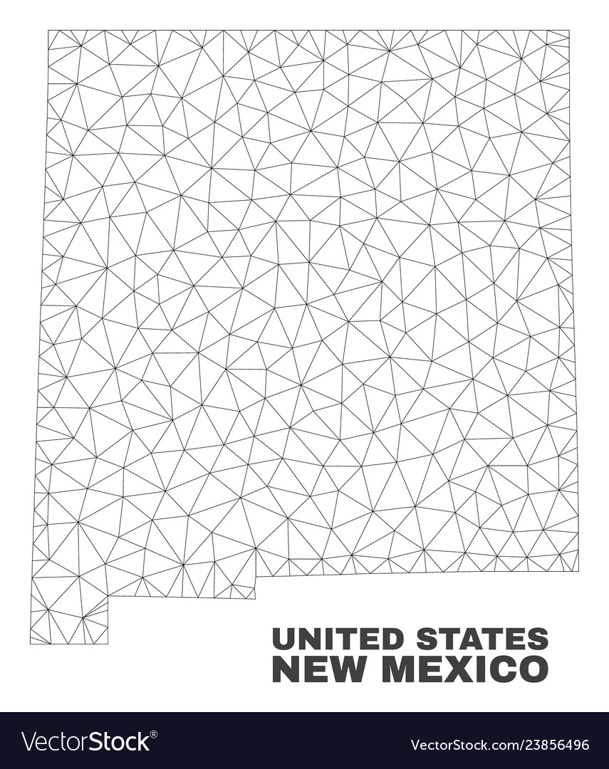 Polygonal Mesh New Mexico State Map Royalty Free Vector