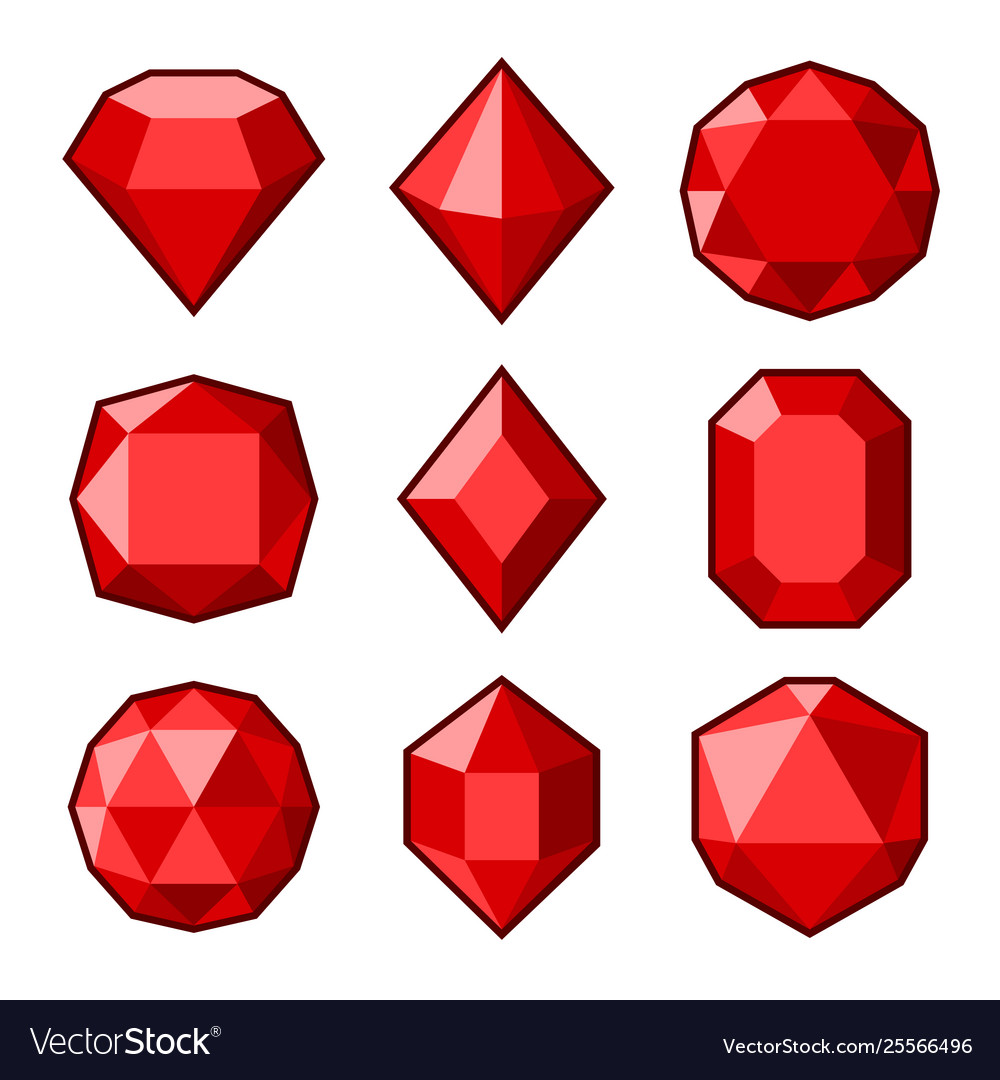 Red crystals and gemstones icons set on white