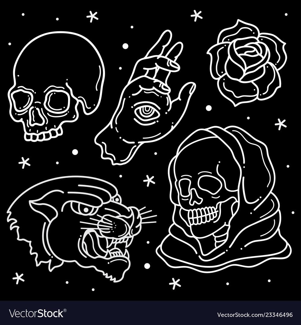 Set flash tattoo design