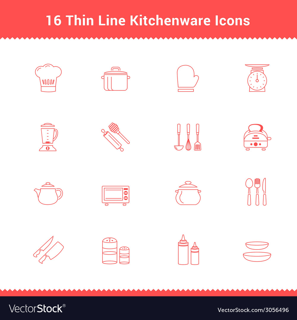 Set of Thin Line Stroke Kitchenware Icon vector image