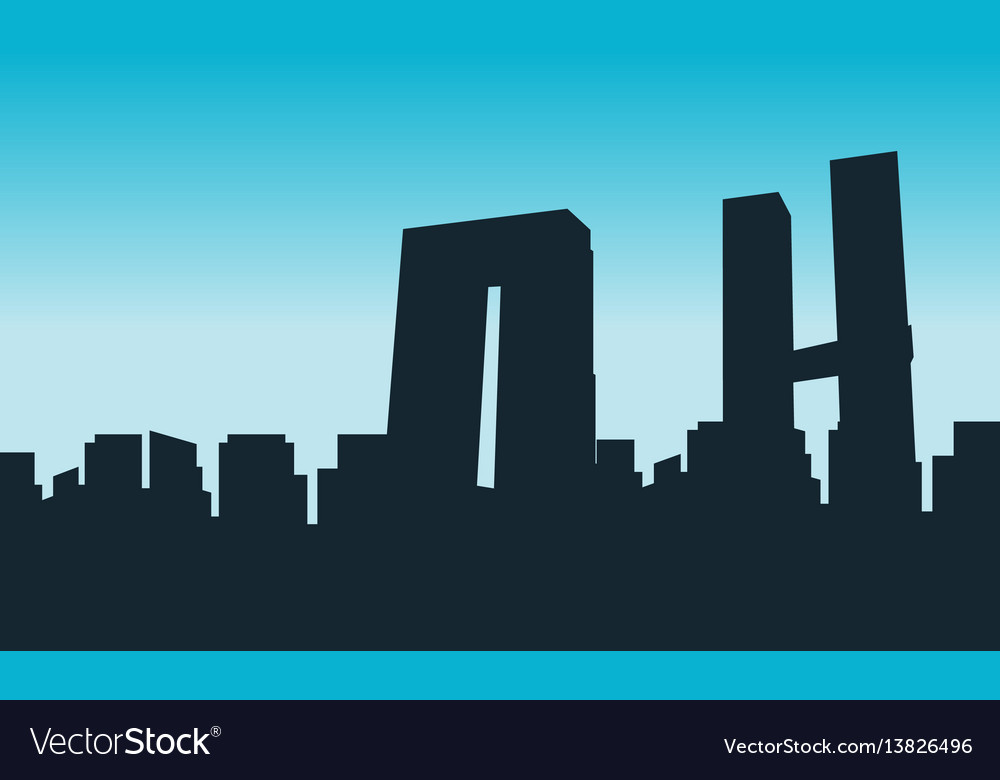 Silhouette of mexico building skyline scenery vector image