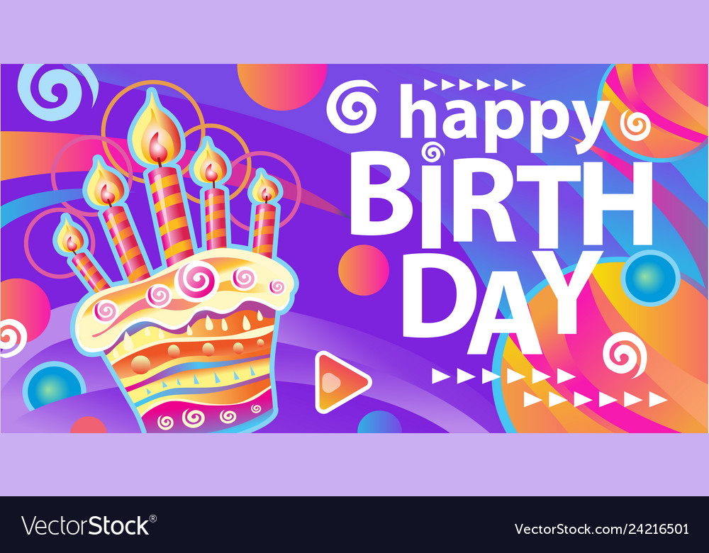 Banner with birthday cake and candles