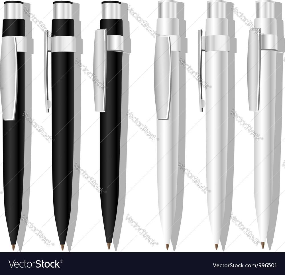 Black white pens vector image