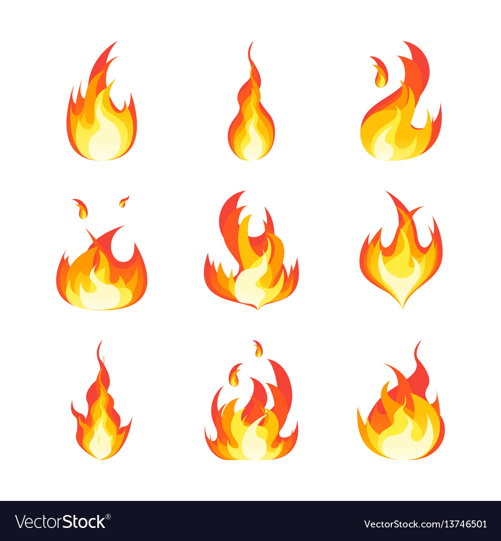 Cartoon fire flames set