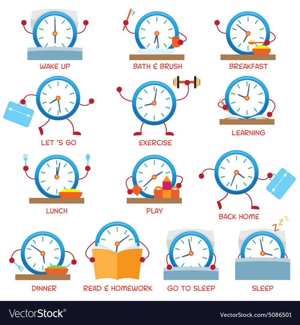 clock character daily routine timetable royalty free vector breakfast clipart free breakfast clip art school
