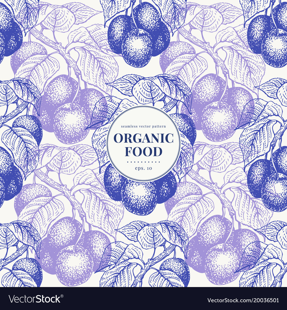 Fruits hand drawn seamless pattern banner
