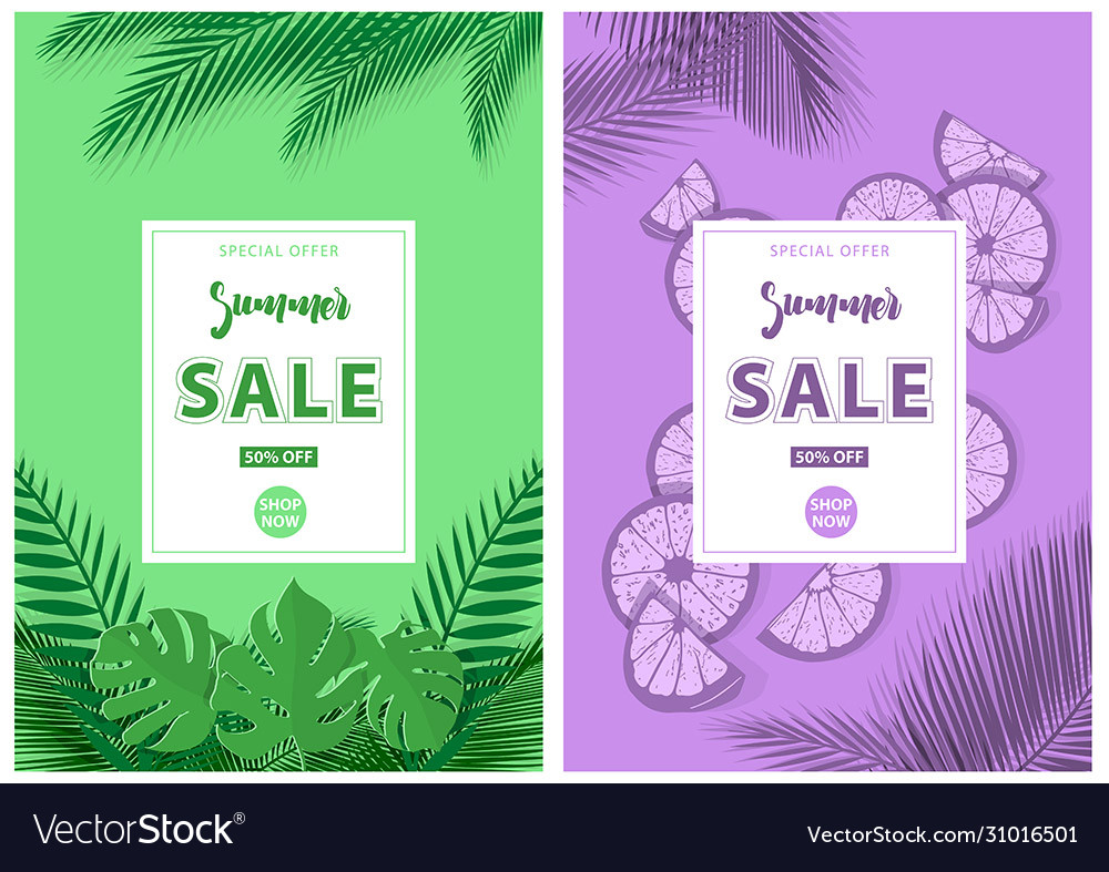 Green and purple summer sale background
