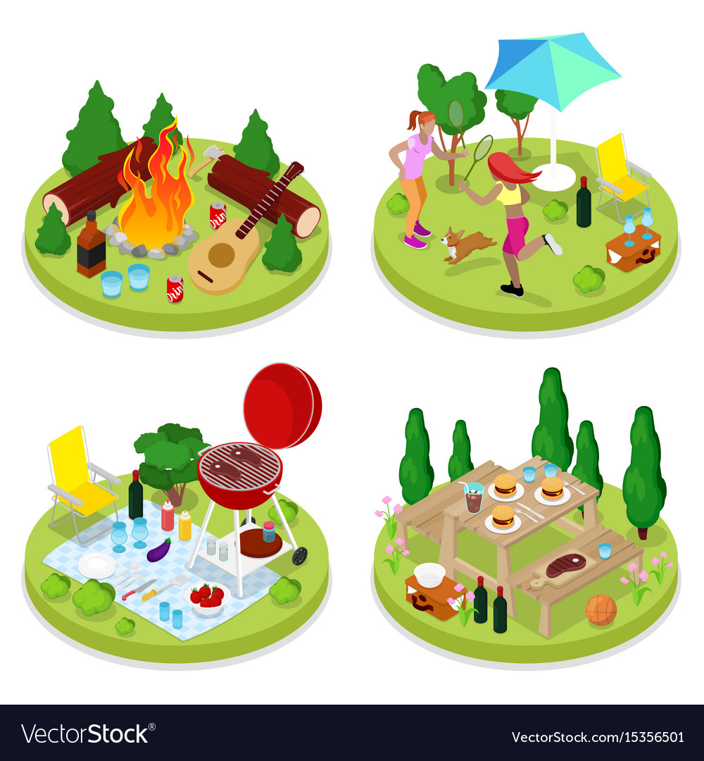 Isometric bbq picnic party summer holiday camp