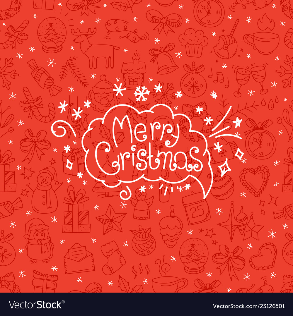 Red background with merry christmas logo in