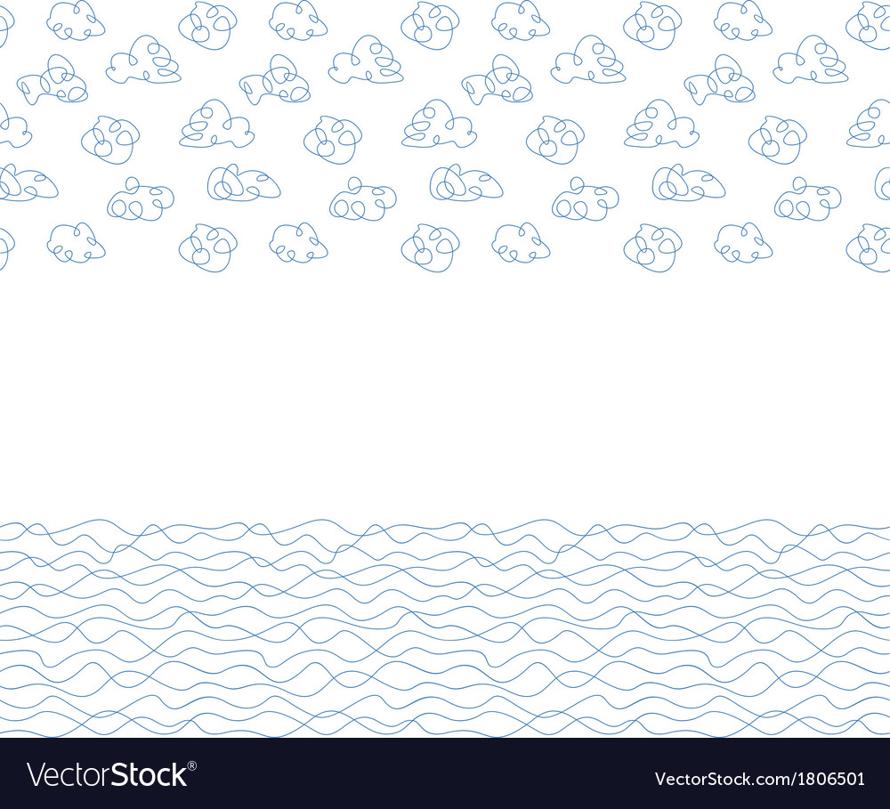 Seamless background white clouds and waves