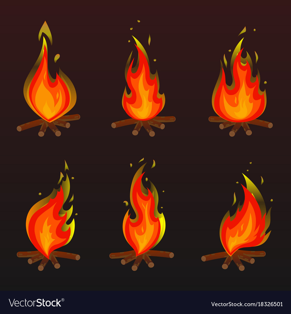 Set of red fire bonfire icons