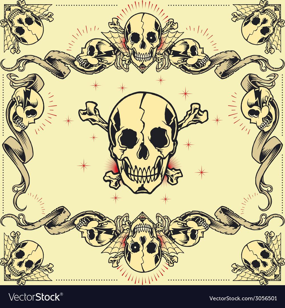 Skull and Ribbon Frames Royalty Free Vector Image