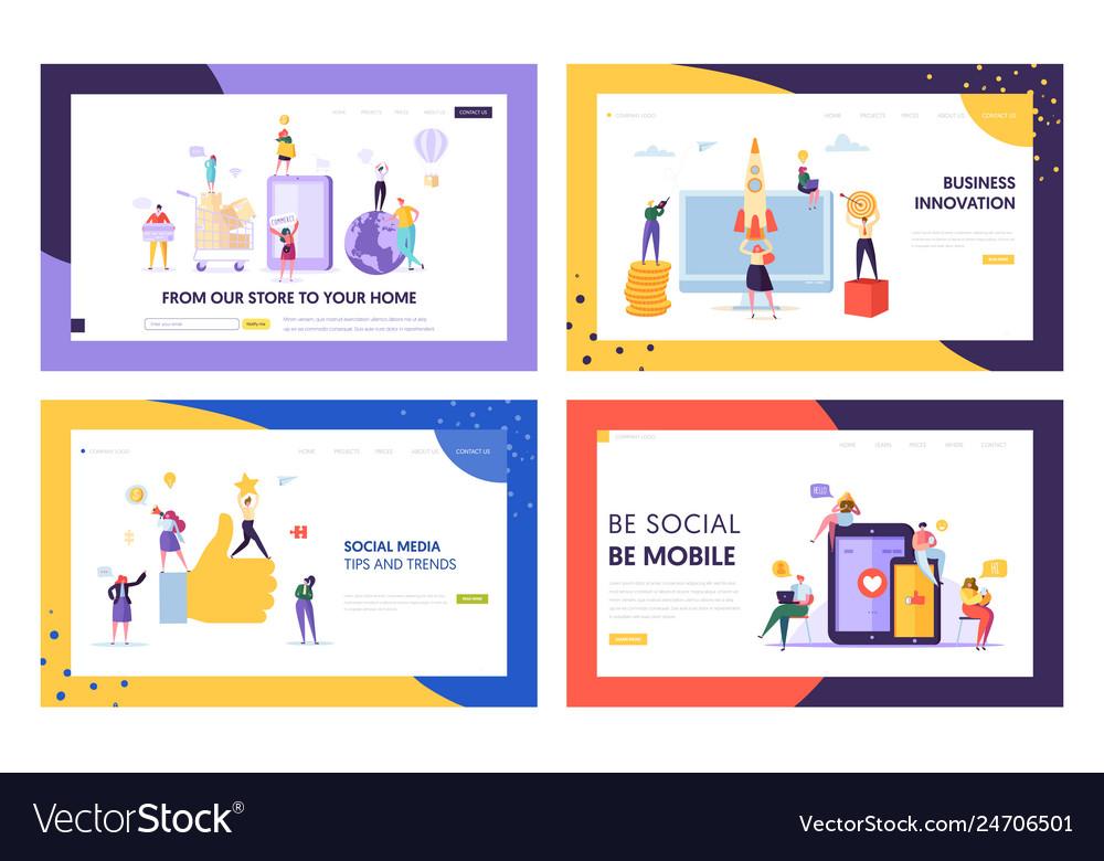 Social media mobile tip and trend landing page set