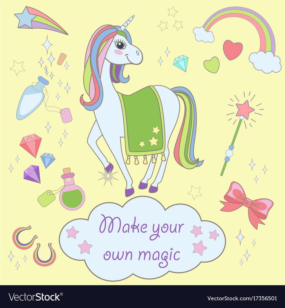 Stickers set with unicorns icons unicorn