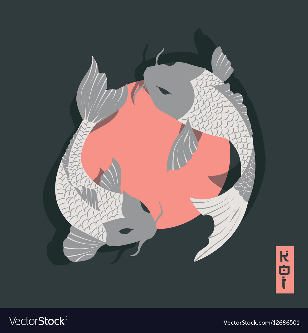 two carp koi fish swimming around sun traditional vector image