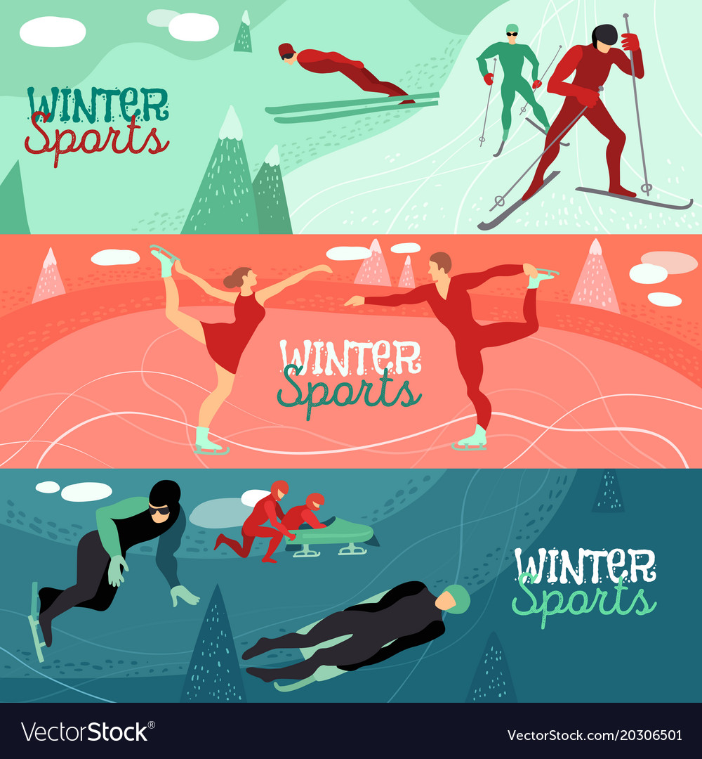 Winter sports horizontal banners