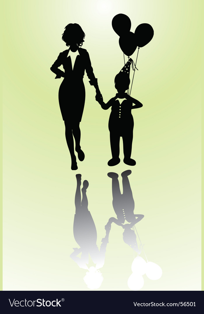 Woman and boy vector