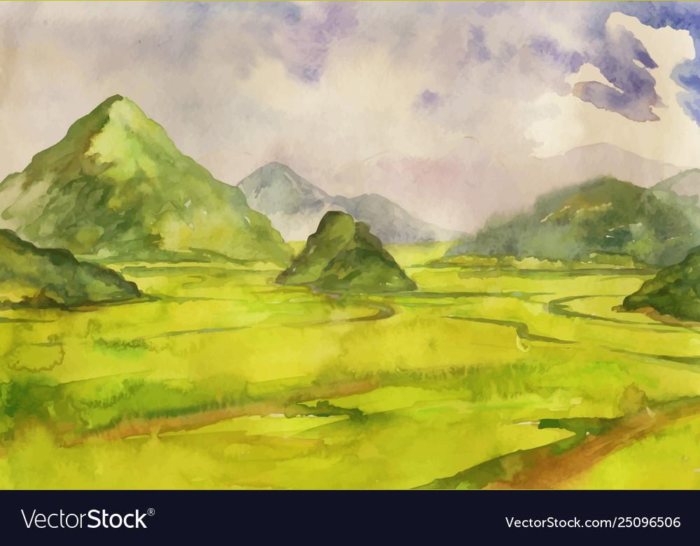 Abstract watercolor landscape cobweb