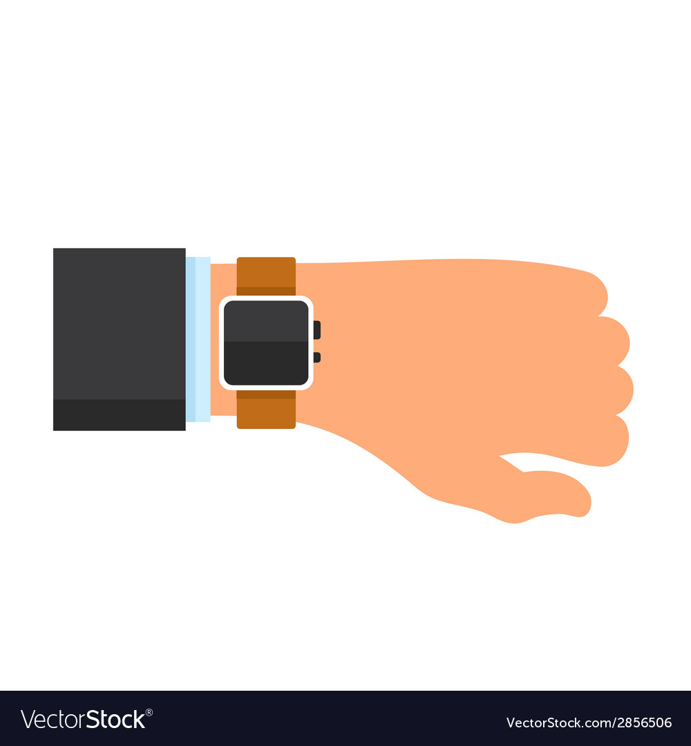 Arm with a Smartwatch in Flat Design Style