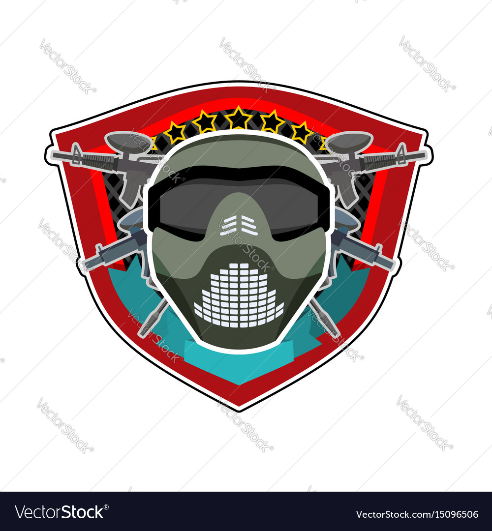 Battle logo paintball helmet and weapons military