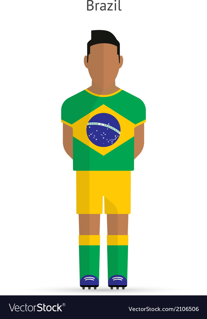 Brazil football player Soccer uniform vector image