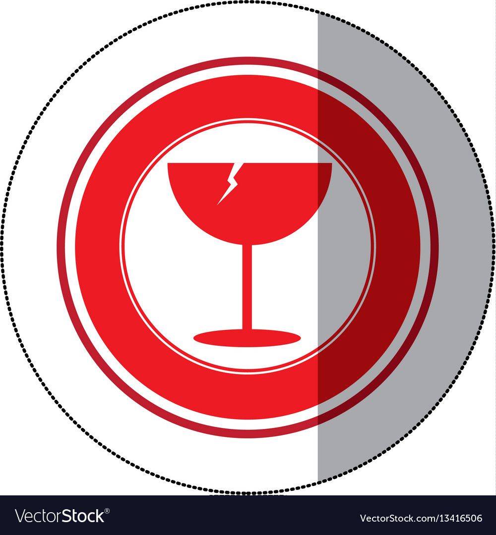 Color glass broken emblem icon vector image