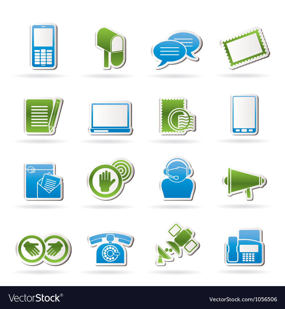Contact and communication icons vector image