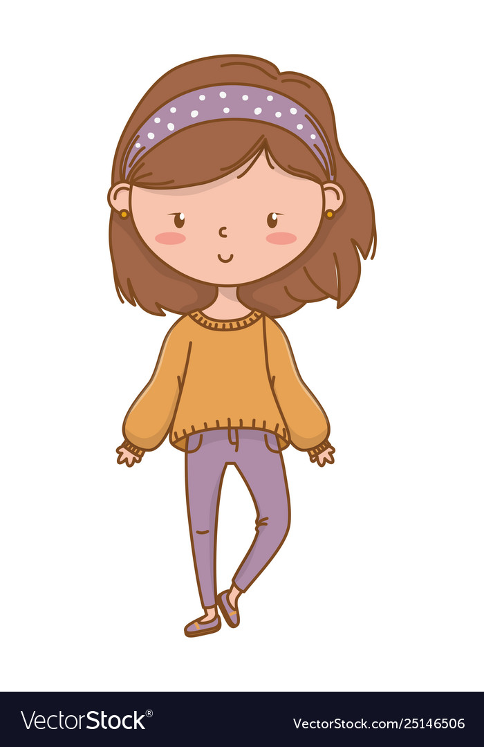 Cute Girl Cartoon Stylish Outfit Royalty Free Vector Image