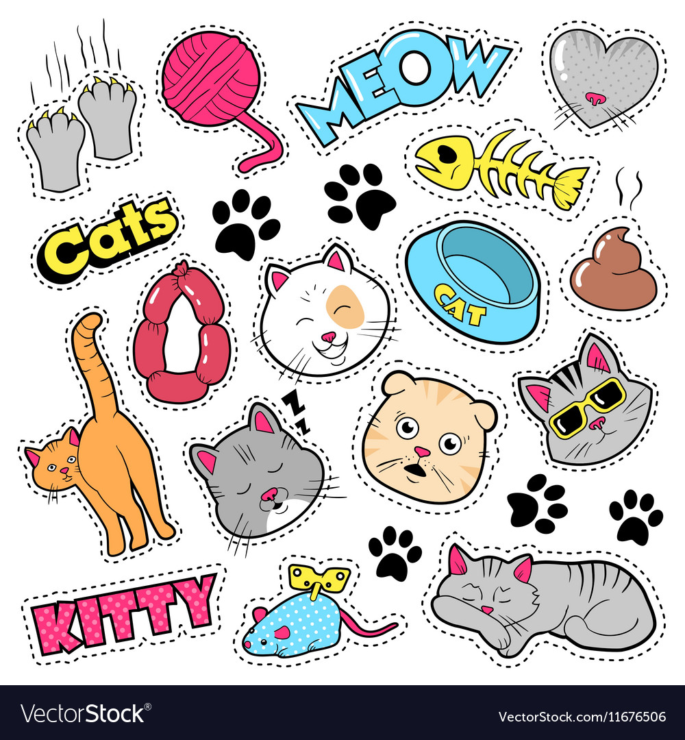 Funny Cats Badges Patches Stickers