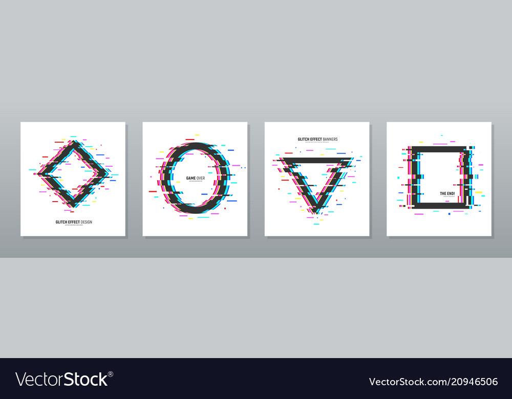 Glitch effect frames set