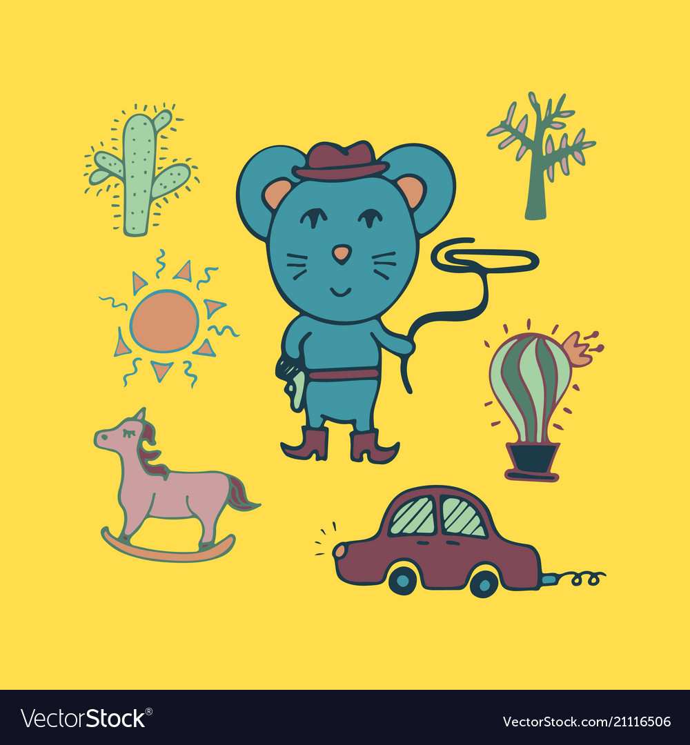 Hand-drawn mouse the cowboy with a lasso