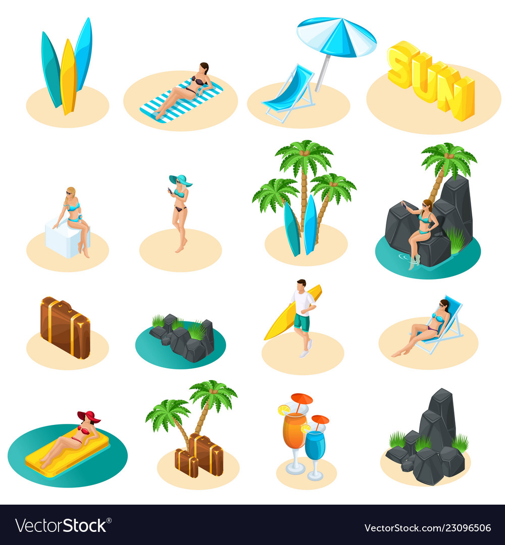 Isometrics set icons for beach girls in bikini