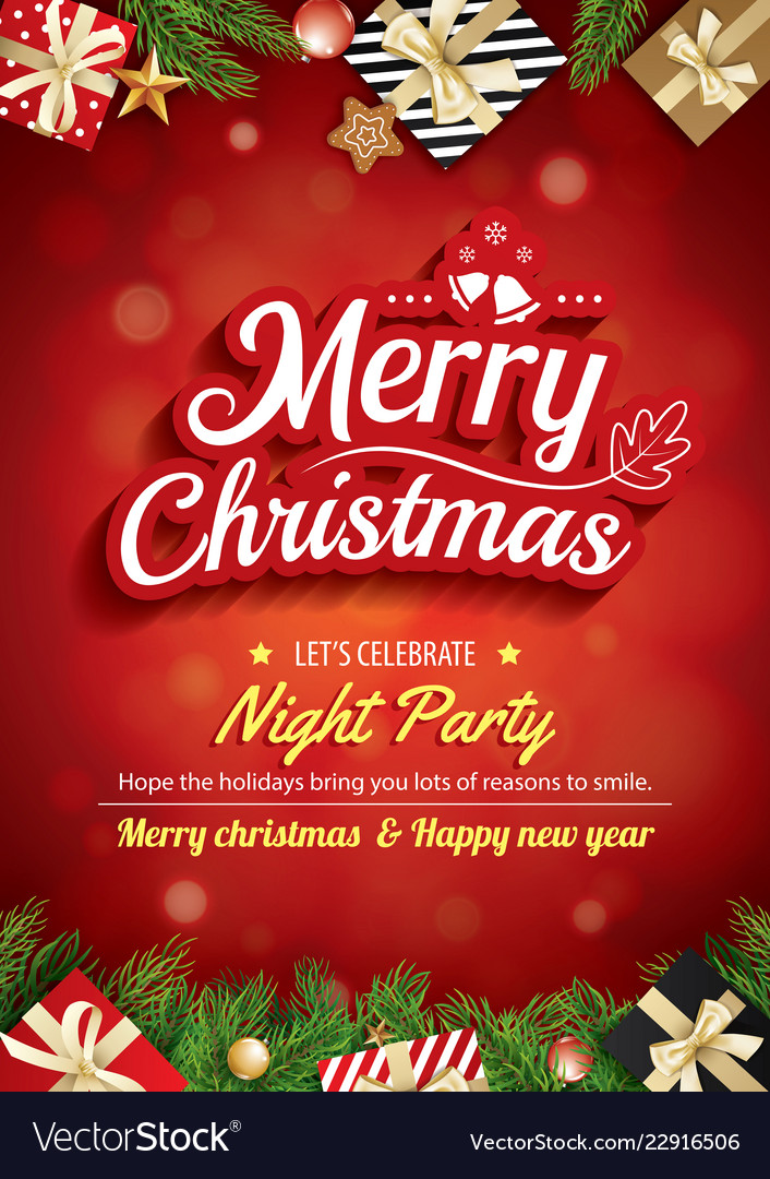 Merry christmas greeting card and party on red