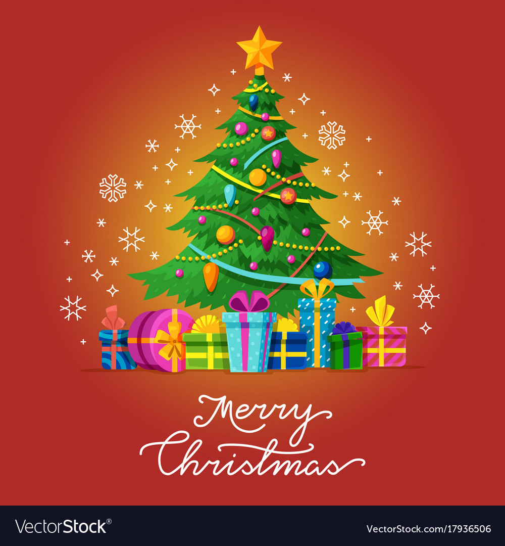 merry christmas greeting card with xmas royalty free vector