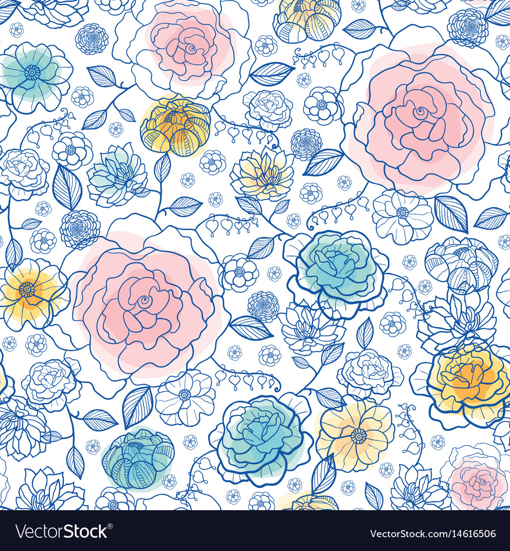 Navy and pastels spring flowers seamless