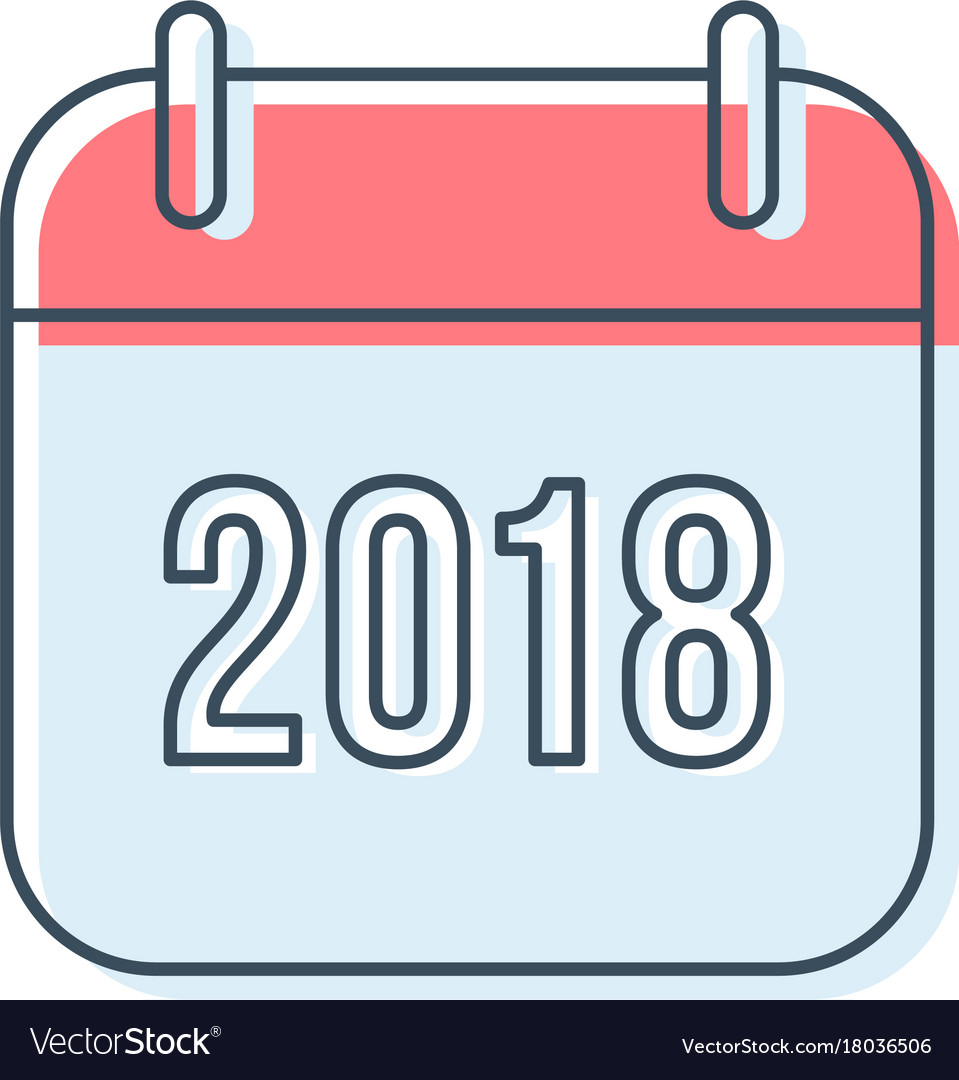new year 2018 calendar icon royalty free vector image rh vectorstock com calendar icon vector png icon vector calendar