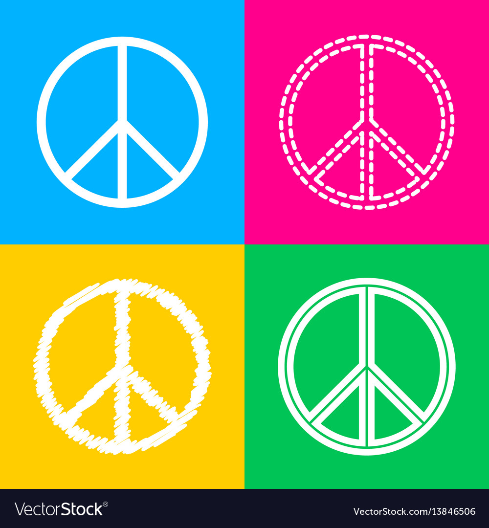 Peace Sign Four Styles Of Icon On Royalty Free Vector Image