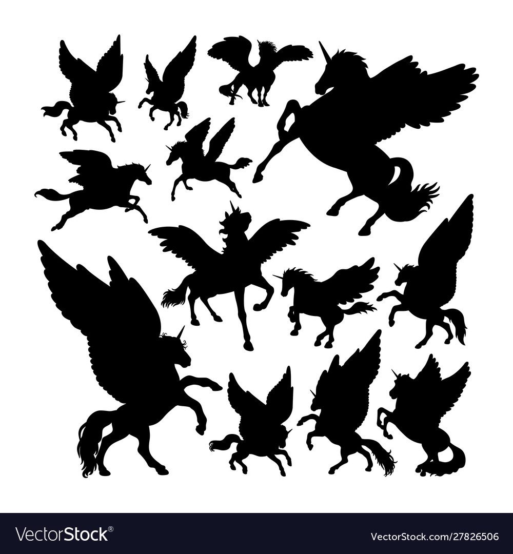 Pegasus ancient creature mythology silhouettes