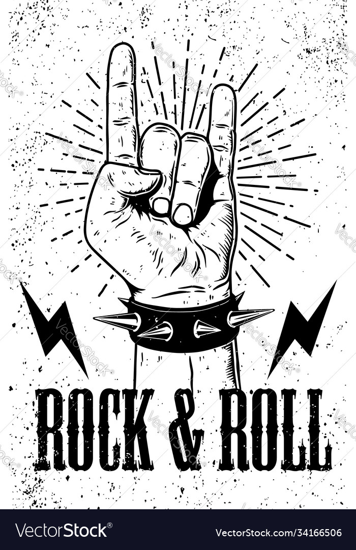 Rock and roll poster template hand with rock and
