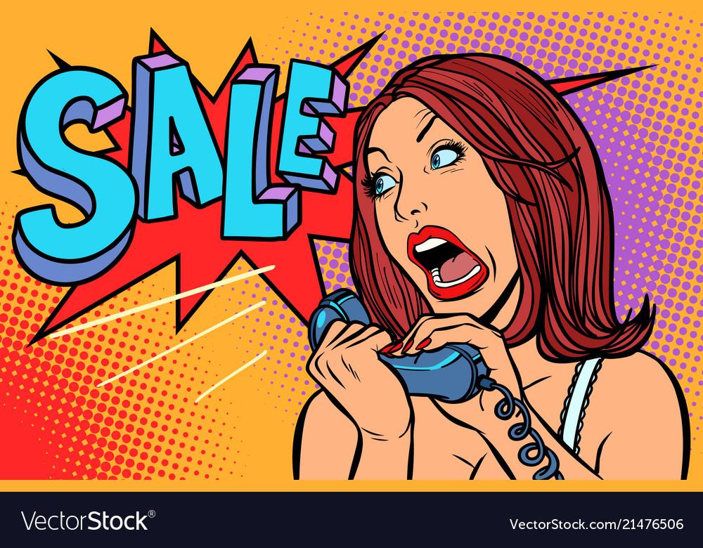 Sale discounts woman screams in phone