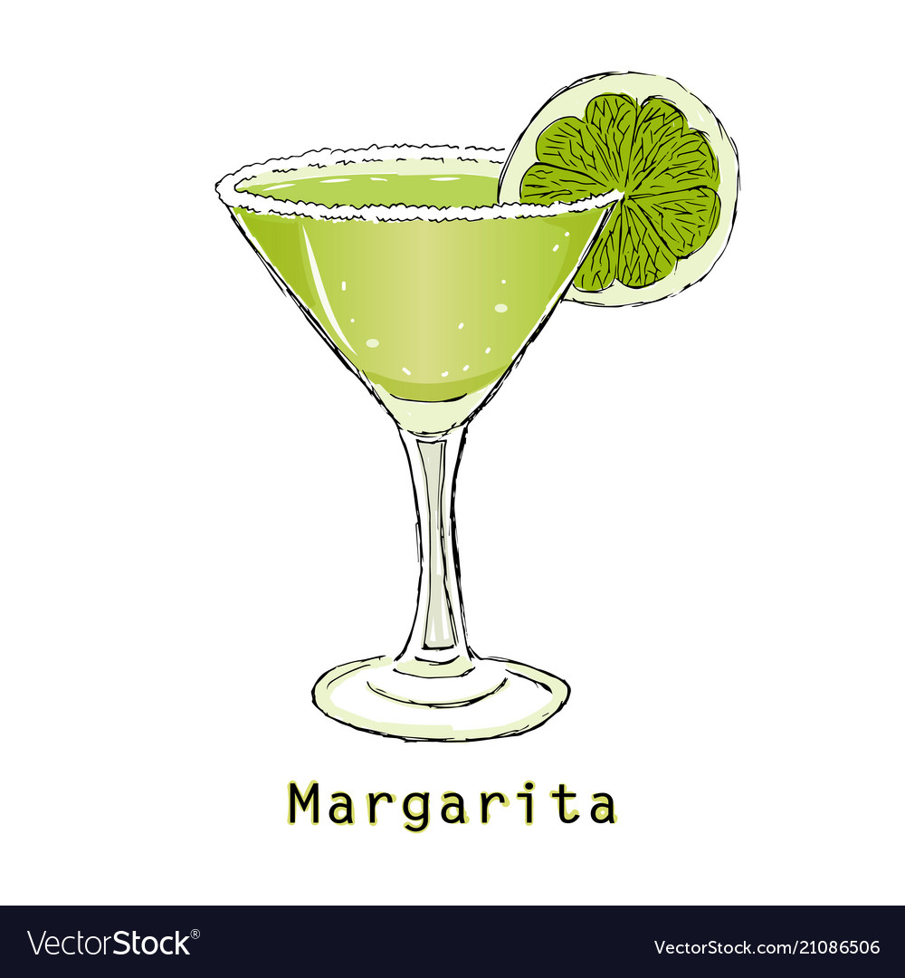 Sketch of cocktail margarita on a white background