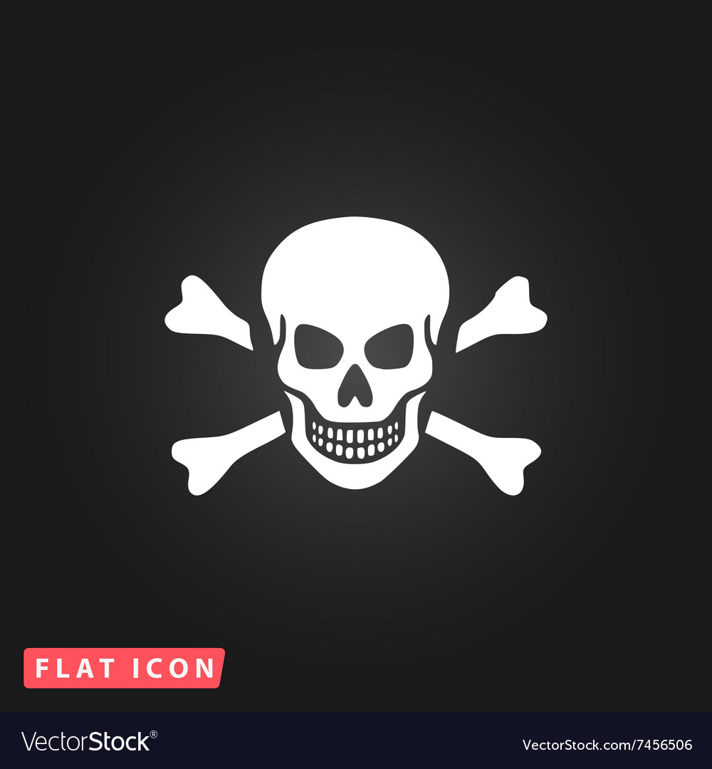 Skull and crossbones icon isolated