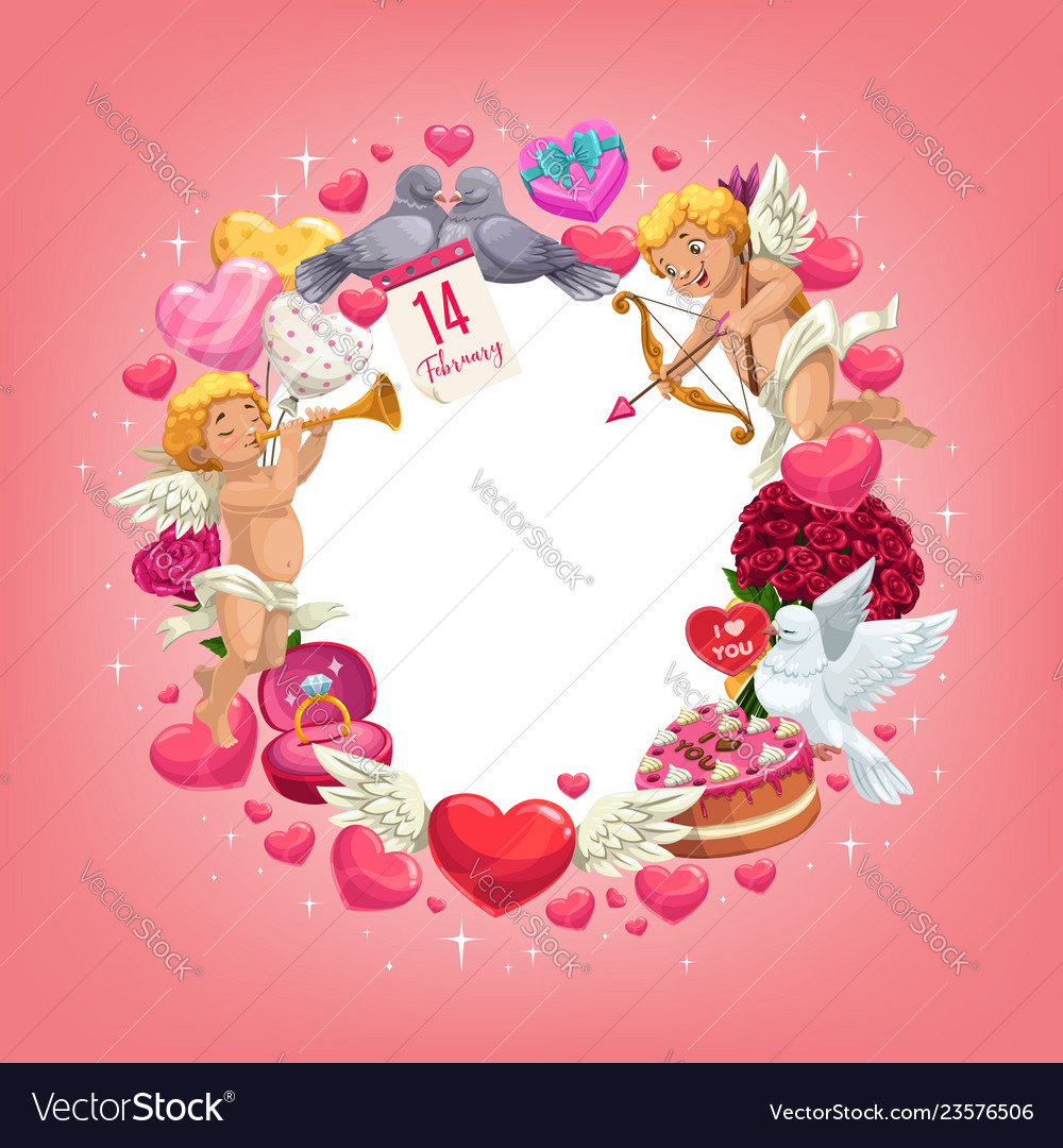 5ecc6900b43877 Valentines day love holiday hearts and gifts frame vector image