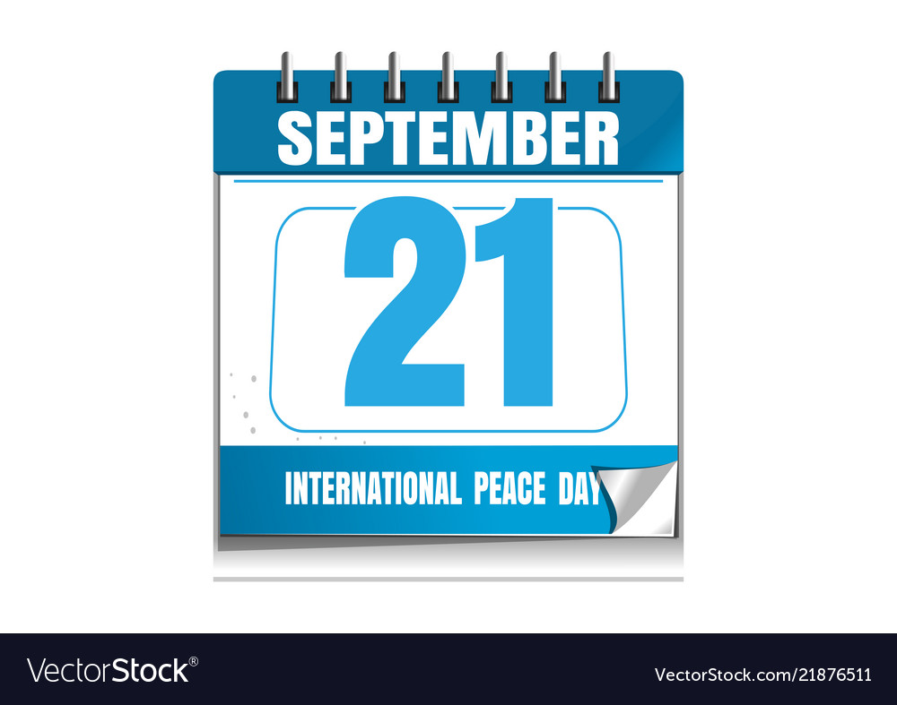 International Day Of Peace Wall Calendar Vector Image
